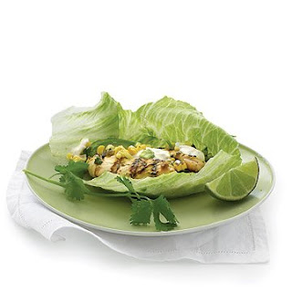 Grilled Chicken and Corn Lettuce Wraps.