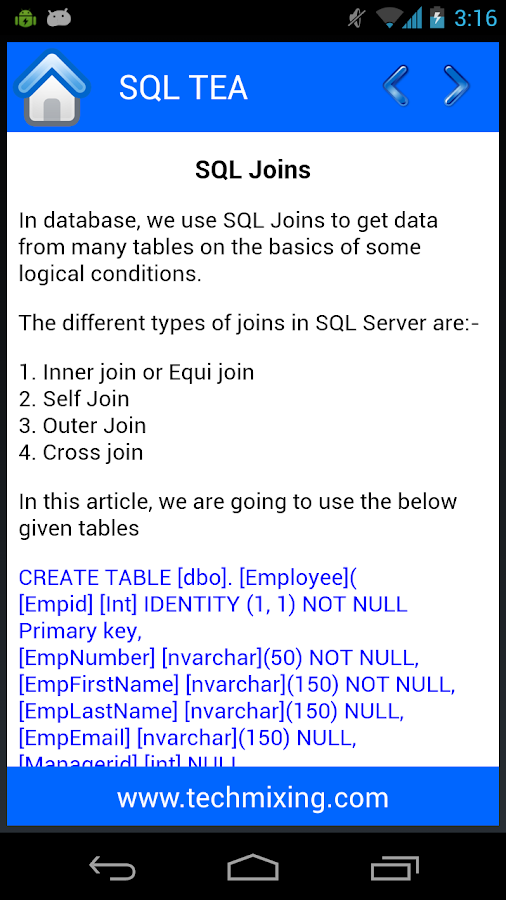 SQL Tea- screenshot