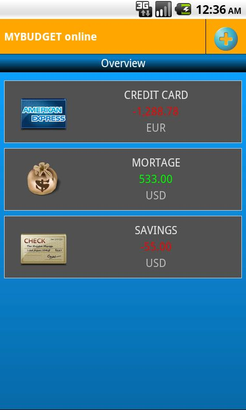 MyBudget online- screenshot