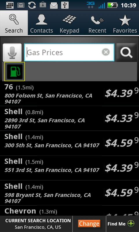 PhoneTell Search & Gas Prices - screenshot