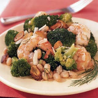 Shrimp Salad with White Beans, Broccoli, and Toasted Garlic.