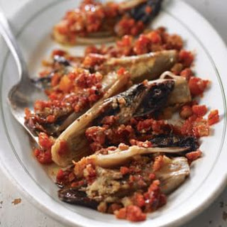 Baked Red Endive with Tomatoes and Pancetta (Endivia Rossa al Forno)