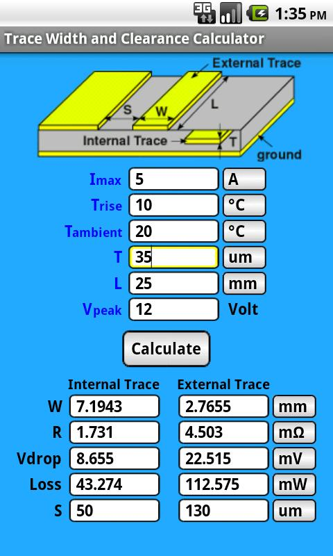 Pcb trace width calculator greentooth Image collections