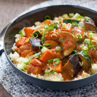 West African Vegetable & Peanut Stew over Couscous.
