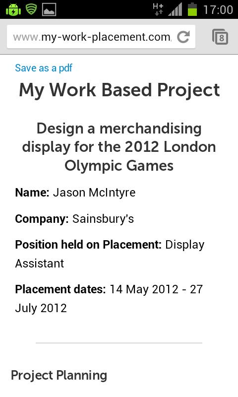 My Work Placement- screenshot