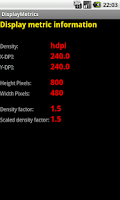Screenshot of Display Metrics Info