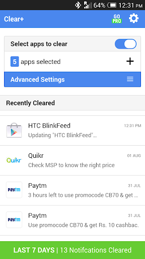 Clear+ Auto Clear Notification