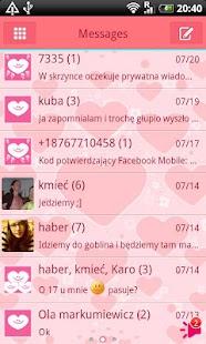 GO SMS Pro Pink Hearts Theme - screenshot thumbnail