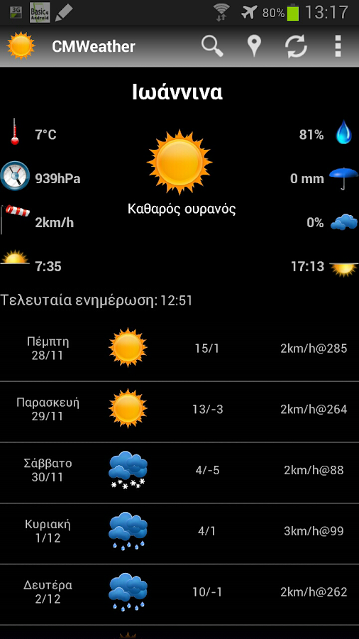 CMWeather weather for Greece - screenshot