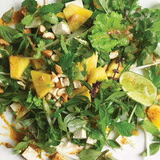 Pineapple, Greens, and Tofu with Roasted Chile-Coconut Dressing.
