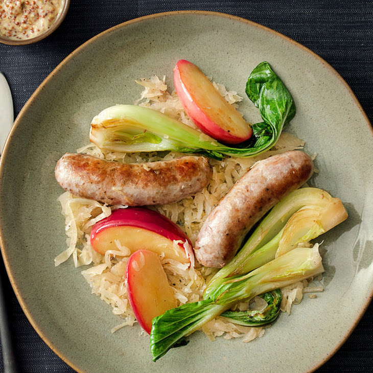 Sausage with Sauerkraut, Apples, and Bok Choy