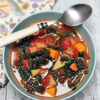 Kale Soup with Spicy Chicken Sausage and Sweet Potato.