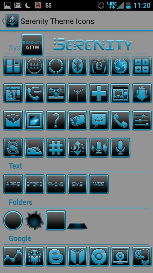 Serenity Launcher Theme Cyan- screenshot