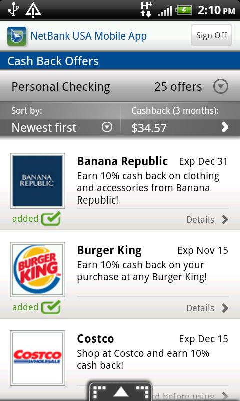 NetBank USA Mobile App - screenshot