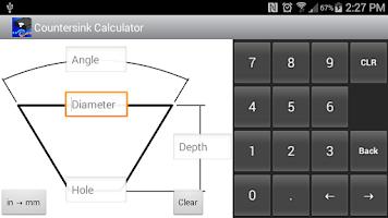 Screenshot of Countersink Calculator