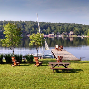 Lake side serenity by Tracey Chionchio - Novices Only Landscapes ( serenity, trees, lake, beauty, boat )