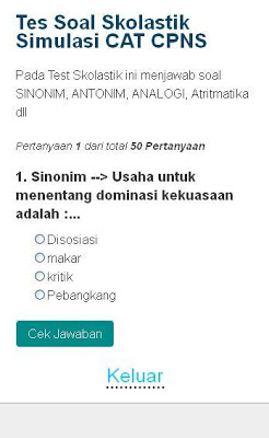 SOAL CAT CPNS - screenshot