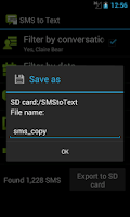 Screenshot of SMS to Text