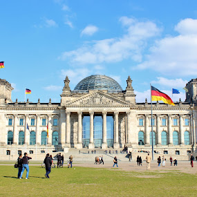 The Reichstag by Amanda Dacey - Buildings & Architecture Public & Historical ( reichstag, flag, bundestag, german, germany, berlin )