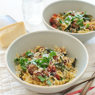 Orzo with Collard Greens, Sausage Meatballs and Sundried Tomatoes