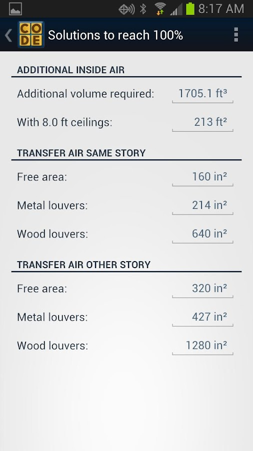 Combustion Air Calculator- screenshot