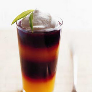 Passion-Fruit and Blackberry Jellies with Lemon Verbena Cream.