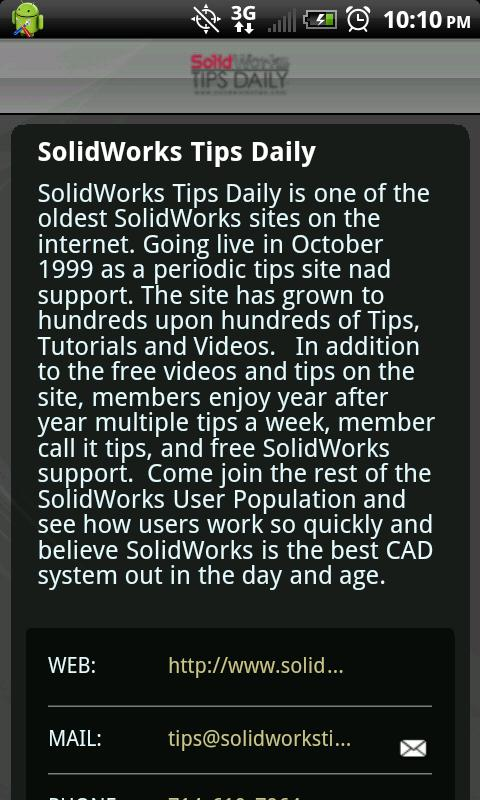 SolidWorks Tips Daily - screenshot