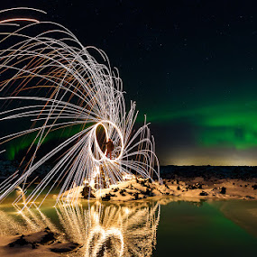 Abstract by Bragi Kort - Landscapes Weather ( burning steel wool, iceland, bragi kort, steel wool, blues lagoon, bkort photography,  )