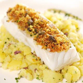Cod with Crushed Potatoes and Anchovy-Olive Oil Emulsion.