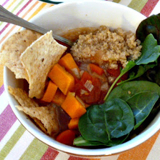 Quinoa Soup with Sweet Potatoes, Tomatoes, and Power Greens