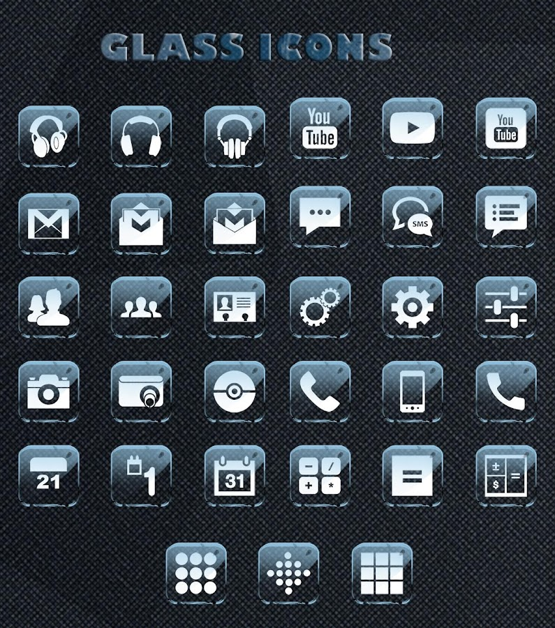 GLASS  ICONS APEX/NOVA/GO/ADW- screenshot