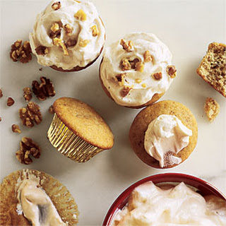 Walnut Cupcakes with Maple Frosting.