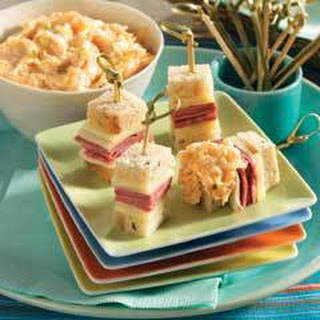 Mini Reuben Skewers With Dipping Sauce.