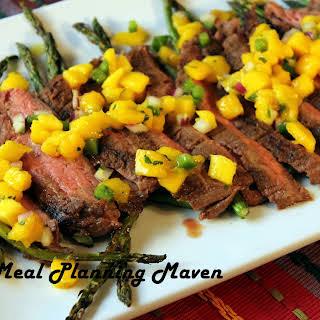 Southwestern Flank Steak with Mango Salsa.