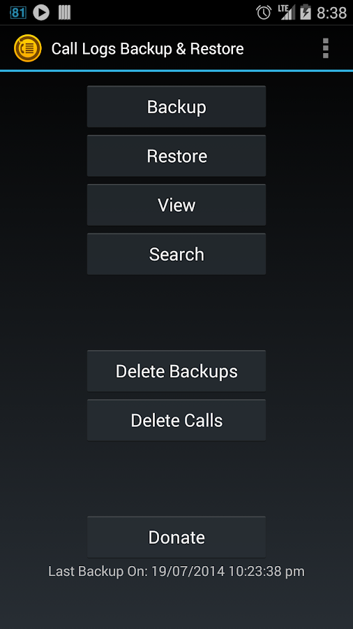 Call Logs Backup & Restore - screenshot