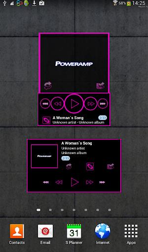Poweramp skin widget TRON PINK