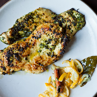 Chicken Cutlets Grilled in Charmoula with Quick-Cured Lemon Confit
