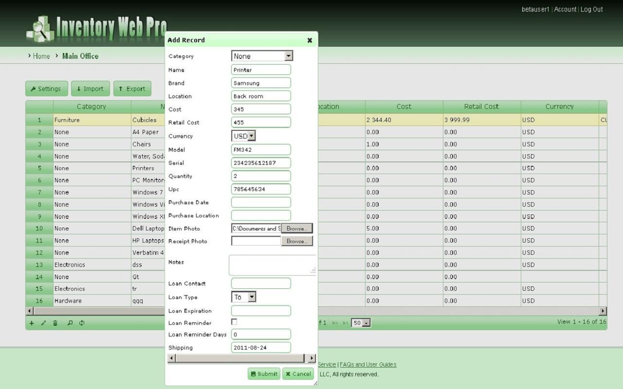Inventory Web Pro- screenshot