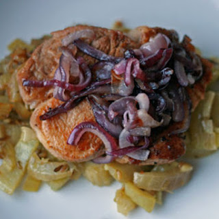 Pork Chops with Braised Fennel and Caramelized Onions