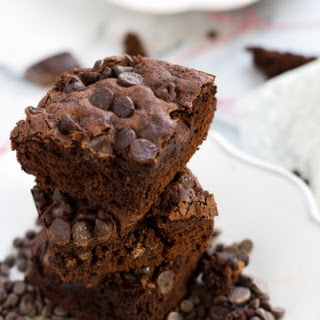 {One Bowl} Healthier Triple Chocolate Brownies.