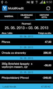 Mobilní objednávání Kredit - screenshot thumbnail
