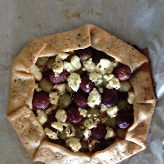 Rustic Rosemary, Grape and Feta Galette with Caramelized Onions
