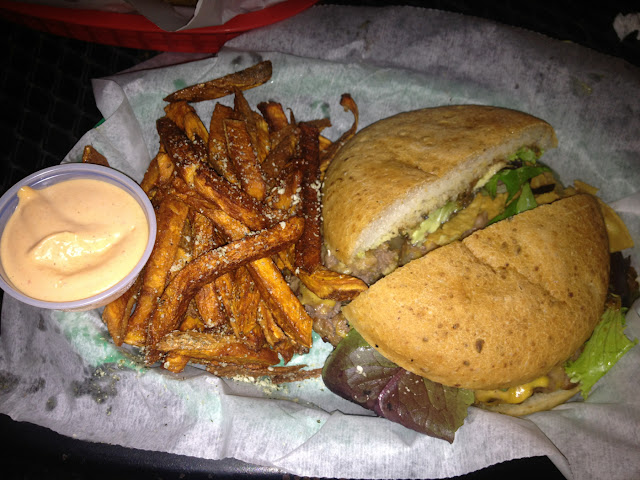 GF Texas Burger and Sweet Potato Fries