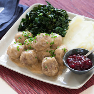 Swedish Meatballs & Braised Kale with Lingonberry Jam & Creamy Mashed Potatoes