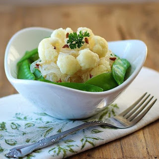 Sauteed Cauliflowers and Snow Peas with Vermicelli.
