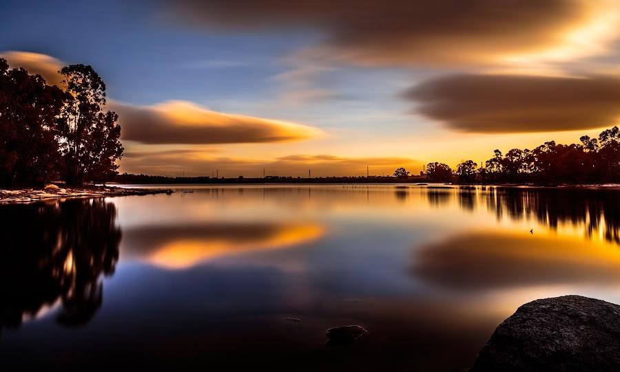 Almost upside down... by Pedro Silva - Landscapes Waterscapes ( #marateca dam, #pedro silva, #portugal, #canon, #sunrise )