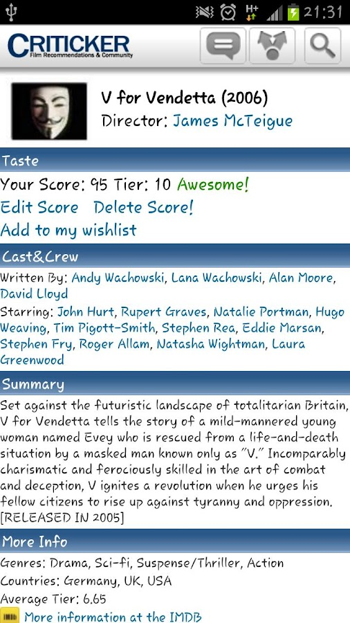 Criticker - screenshot