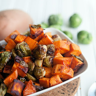 Maple Chipotle Roasted Sweet Potatoes and Brussels Sprouts Recipe