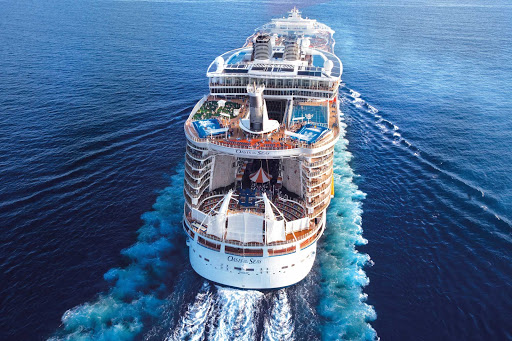 Oasis-of-the-Seas-Aerial-aft - Choose a three- or seven-day Caribbean cruise with Royal Caribbean's Oasis of the Seas.