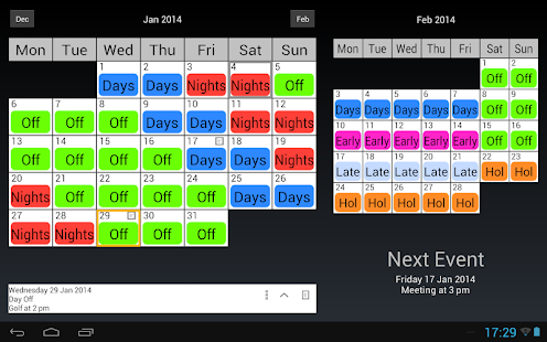 Shift work calendar android apps on google play for 3 on 3 off shift pattern template